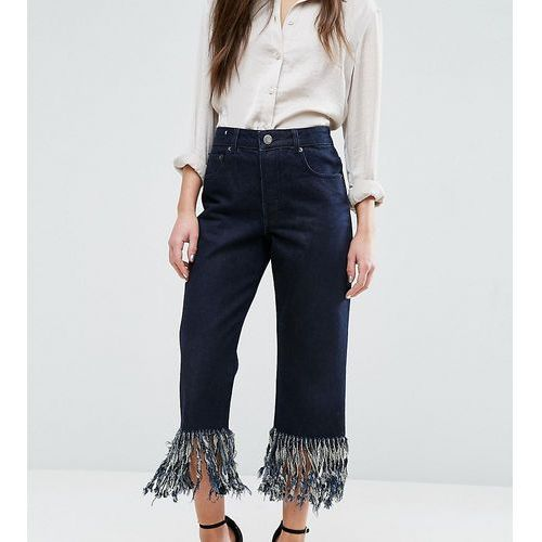 ASOS PETITE Authentic Straight Leg Jeans in James Wash with Fringe Hem - Black, kolor czarny