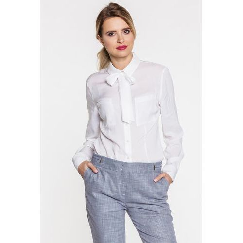 Biała koszula z wiązaną kokardą - Duet Woman, kolor biały