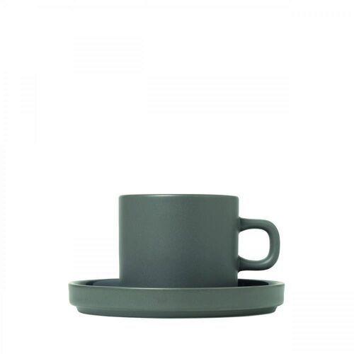 Zestaw 2 kubków do kawy z podstawkami, mio, pewter