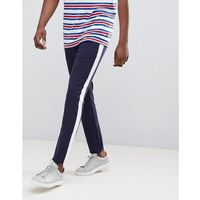 Jack & Jones Track Pant With Sport Stripe In Slim Fit - Navy, slim