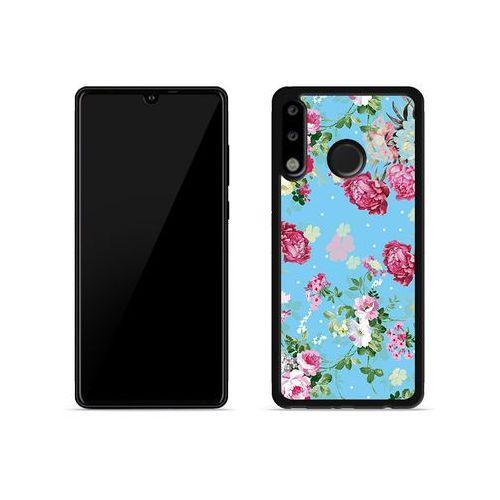 Huawei P30 Lite - etui na telefon Aluminum Fantastic - różyczki na miętowym tle, kolor różowy