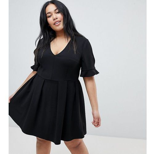 Asos curve Asos design curve mini v neck smock dress with frill cuff - black