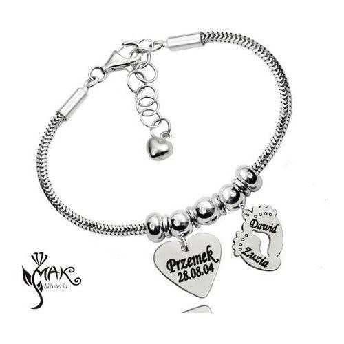 Mak-biżuteria Br889 dla mamy bransoletka z grawerunkiem laser serce stópki