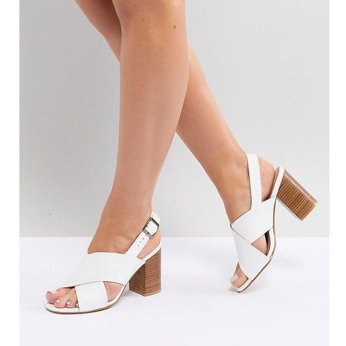 wide fit block heeled sandals - white, Park lane