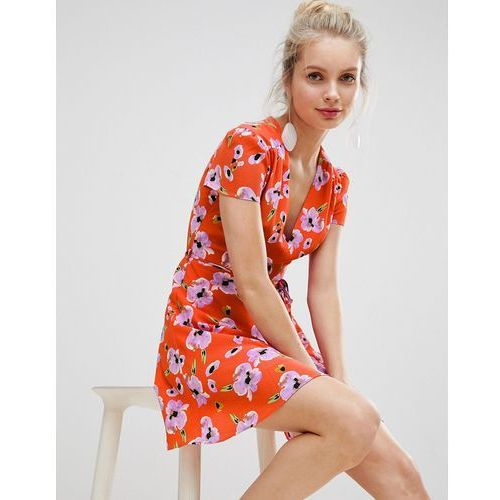 Glamorous mini dress with tie waist in contrast floral print - red