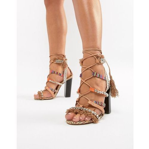 River island heeled sandals with block heel and tassel detail - beige