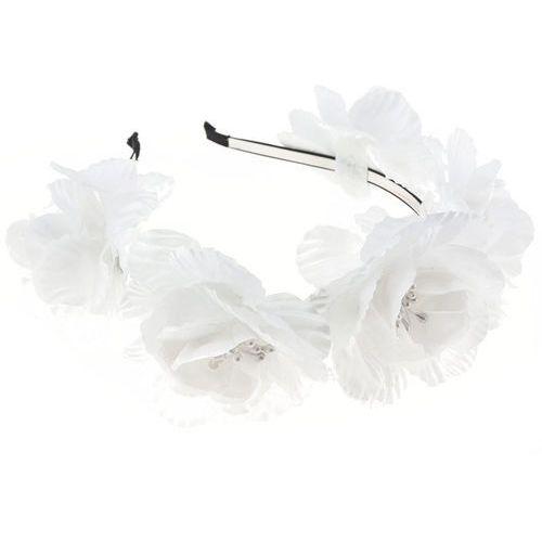 Opaska sztywna duże kwiaty białe - białe marki Iloko