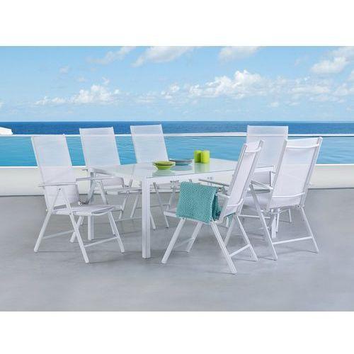 Beliani Zestaw do ogrodu 6 krzeseł białe aluminiowe regulowane catania