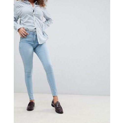 Parisian Frayed Hem Skinny Jeans - Blue, skinny