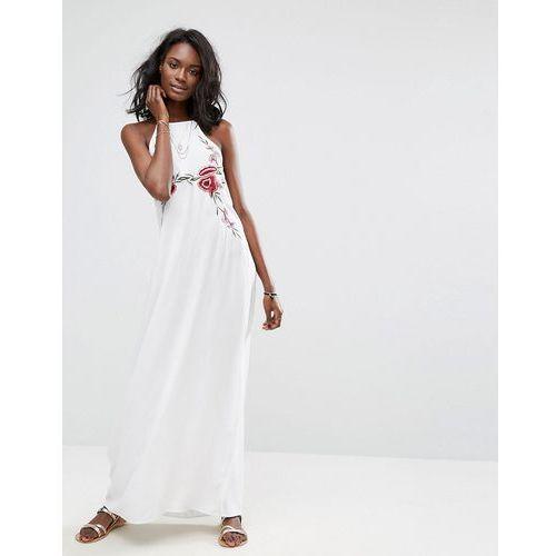 Boohoo embroidered halter neck maxi dress - white