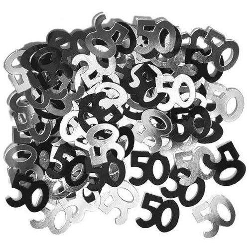 Konfetti czarne i srebrne na 50-tke - pięćdziesiątka - 14 g. marki Unique