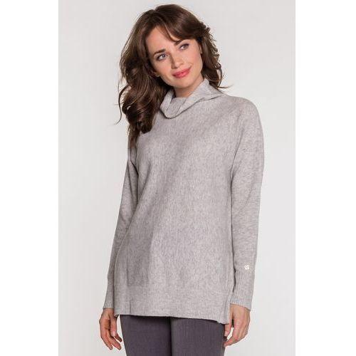 Szary sweterek z krótkim golfem - Patrizia Aryton