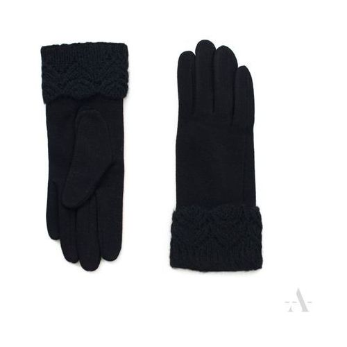 Evangarda Szykowne czarne rękawiczki damskie z koronkowym nadgarskiem - czarny