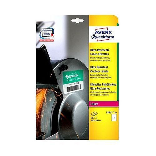 Avery zweckform Etykiety avery ultra resistant 210x297mm polietylenowe białe l7917-10, 10ark. a4