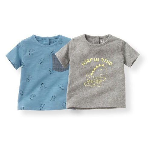 R mini T-shirt z nadrukiem dinozaura, 1 mies. - 3 lata (komplet 2 szt.)