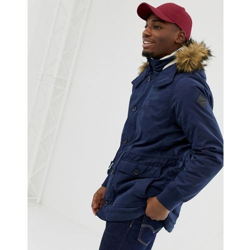 lined twill hooded parka with faux fur trim in navy - navy marki Hollister
