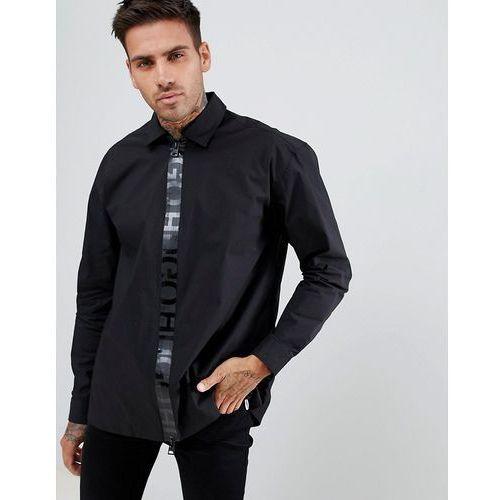 HUGO Eiry regular fit zip thru tape logo poplin stretch shirt in black - Black