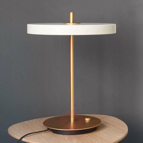 ASTERIA-Lampa stojąca LED Stal ze ściemniaczem i wtyczką USB Ø31cm, kolor Perłowy