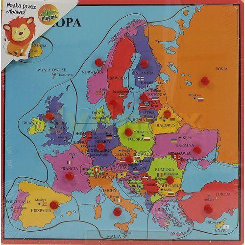 Układanka drewniana z pinezkami Mapa Europy, 78901203815ZA (5605370)