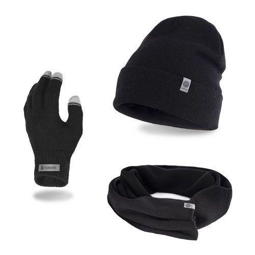Pamami Komplet męski - czapka, szalik, rękawiczki - czarny