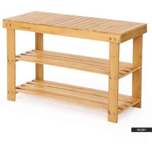 regał łazienkowy naturalel z bambusowego drewna z trzema półkami 70 cm marki Selsey