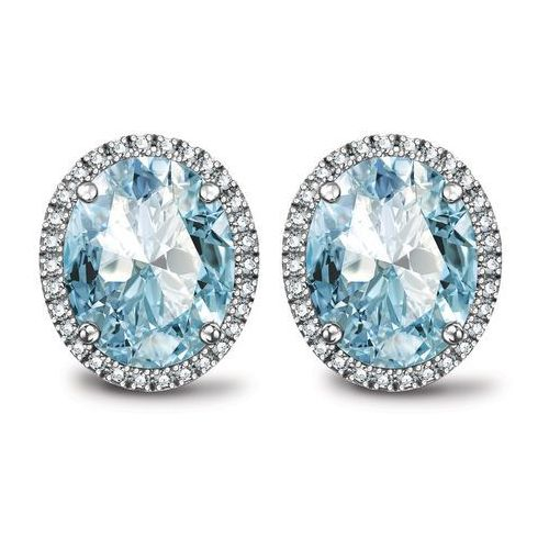 Biżuteria yes Jubilé - złote kolczyki z topazami błękitnymi i diamentami