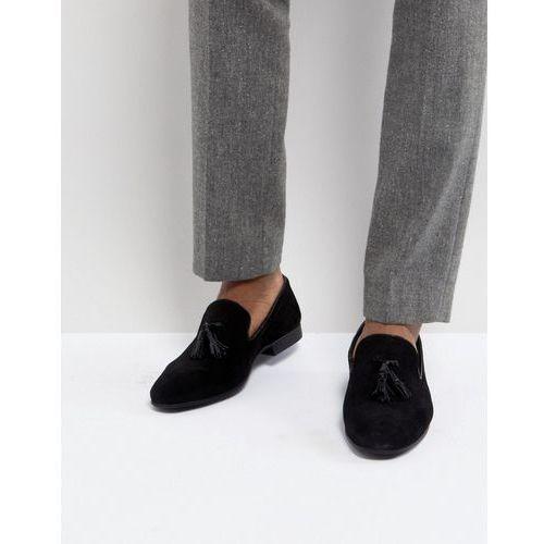 Silver Street Tassel Loafers In Black Suede - Black