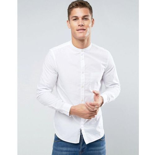 slim fit grandad shirt with pocket - white marki French connection