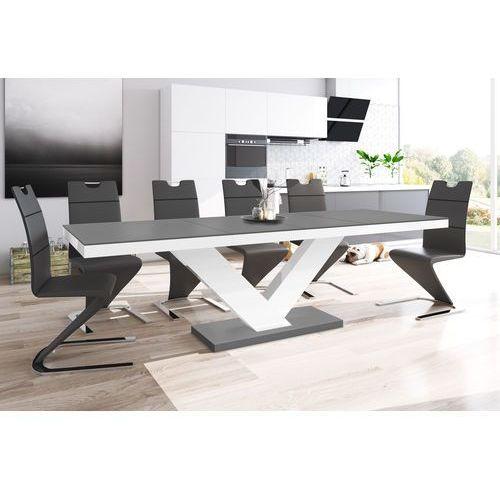 Stół rozkładany Victoria jasno szary-biały SUPER MAT