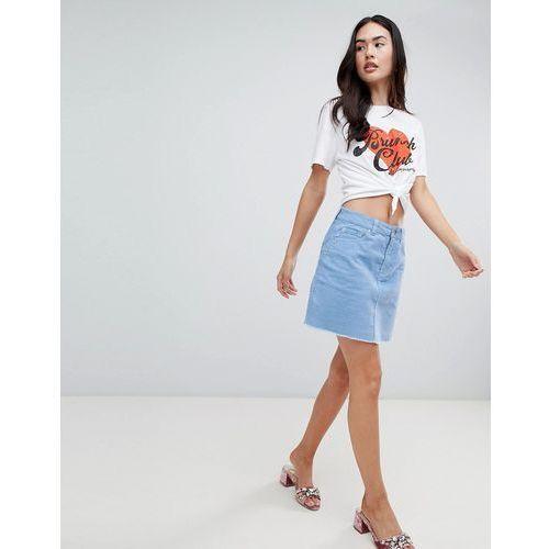 Miss Selfridge cord a-line mini skirt in blue - Blue, kolor niebieski