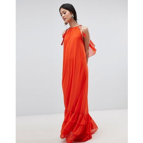 Y.A.S Halter Maxi Dress With Tiered Hem - Orange