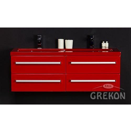 Gante Czerwona szafka wisząca z umywalką 120/39/4cz seria fokus cz