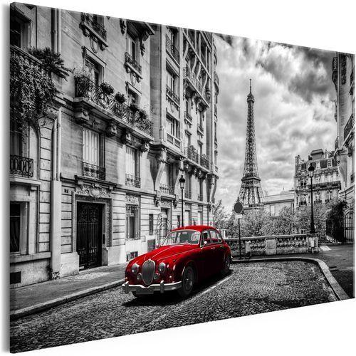 Obraz - Auto w Paryżu (1-częściowy) czerwony szeroki