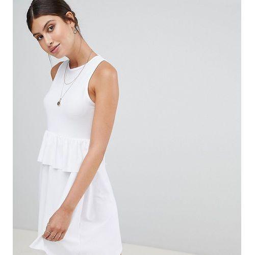 Boohoo exclusive peplum waist open back dress - White, kolor biały
