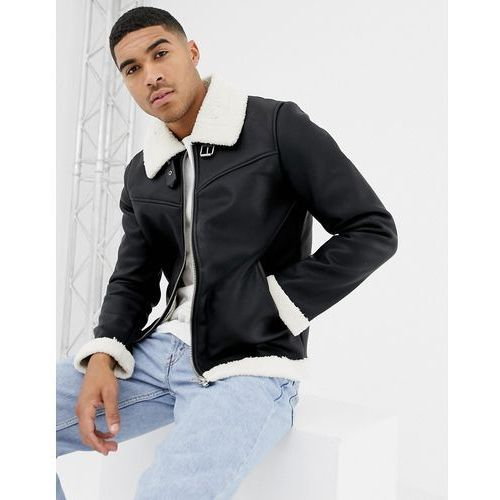 Bershka aviator jacket in black with borg lining - black