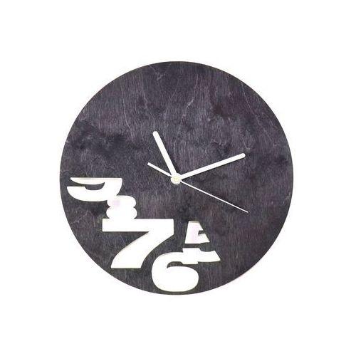 Drewniany zegar na ścianę Abstrakcja z białymi wskazówkami (5907509932540)