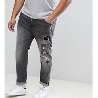 plus slim fit jeans with rip repair and patch details - grey marki Only & sons