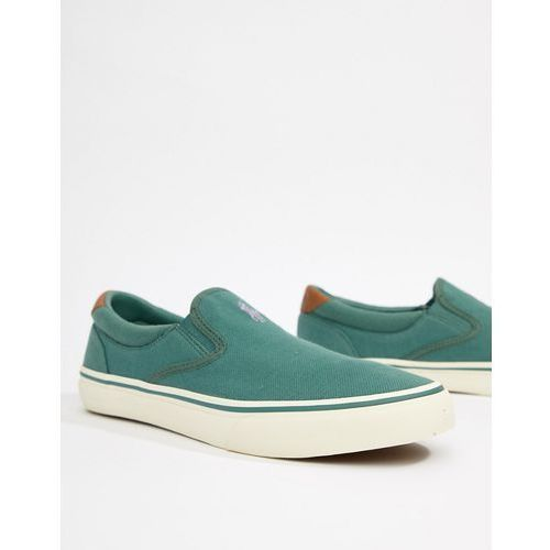 thompson 2 pique slip on plimsolls leather trims in green - green, Polo ralph lauren