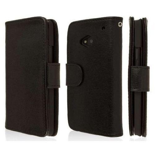 Empire klix genuine leather wallet skórzane etui case futerał na telefon komórkowy dla htc one m7 – textured czarny genuine
