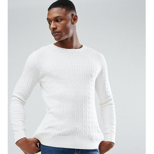tall knitted jumper with cable knit detail in 100% cotton - cream marki Selected homme