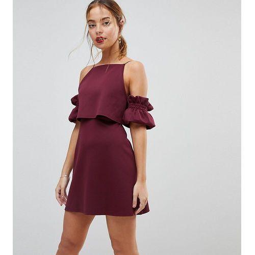 Asos petite crop top ruffle sleeve mini dress - purple