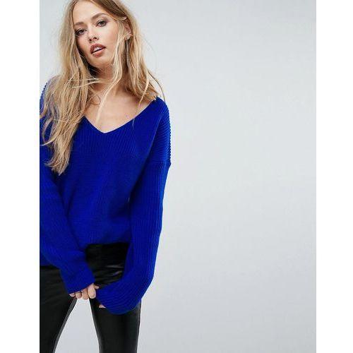 oversized v neck jumper - blue marki Boohoo