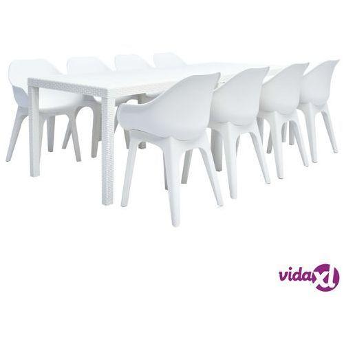 vidaXL 9-częściowy zestaw mebli ogrodowych z plastiku, biały (8719883563695)