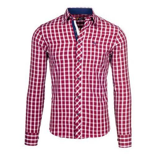 Bordowa koszula męska elegancka w kratę z długim rękawem Bolf 4747 - BORDOWY, BOLF