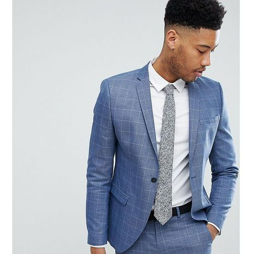 Selected homme tall skinny fit suit jacket in navy grid check - navy