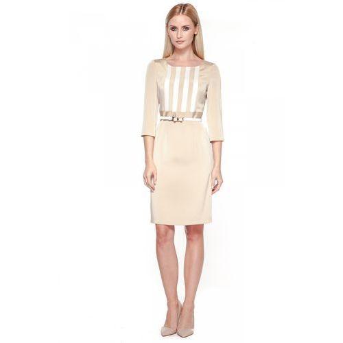 Sukienka z paskiem - POTIS & VERSO, kolor beżowy