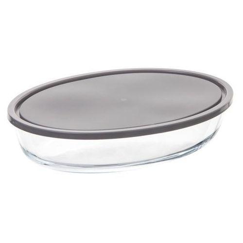 Duży owalny pojemnik na żywność wykonany ze szkła i tworzywa sztucznego OVAL GLASS MOULD o wymiarach 30 x 21 cm