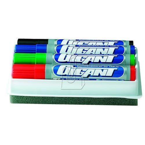 Marker suchościeralny 4 kolory + gąbka (5903795201155)