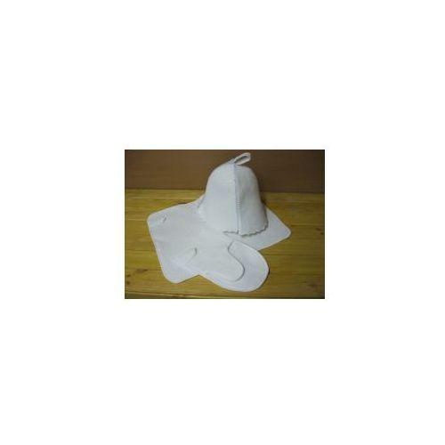 Zestaw Sauniarza biały - czapka rękawica ręczniczek
