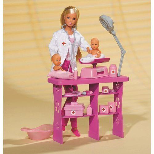 Lalka  steffi pediatra z dwoma niemowlakami marki Simba